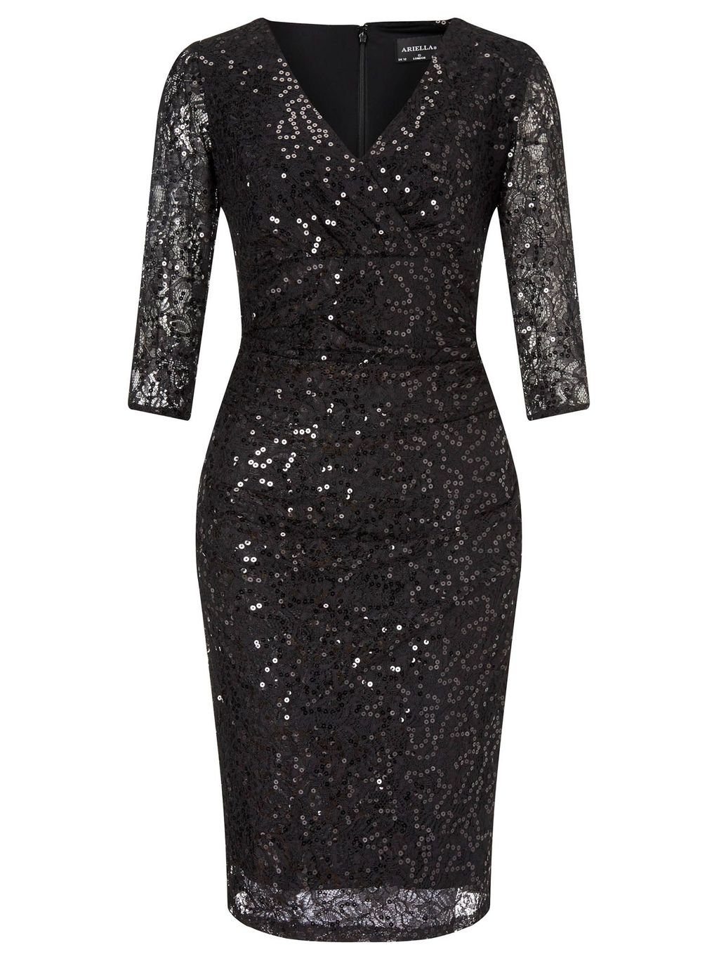 Teresa Short Sequin Cocktail Dress, Black - style: shift; neckline: v-neck; fit: tailored/fitted; pattern: plain; predominant colour: black; occasions: evening; length: just above the knee; fibres: polyester/polyamide - 100%; sleeve length: 3/4 length; sleeve style: standard; texture group: sheer fabrics/chiffon/organza etc.; pattern type: fabric; embellishment: sequins; season: a/w 2015; wardrobe: event