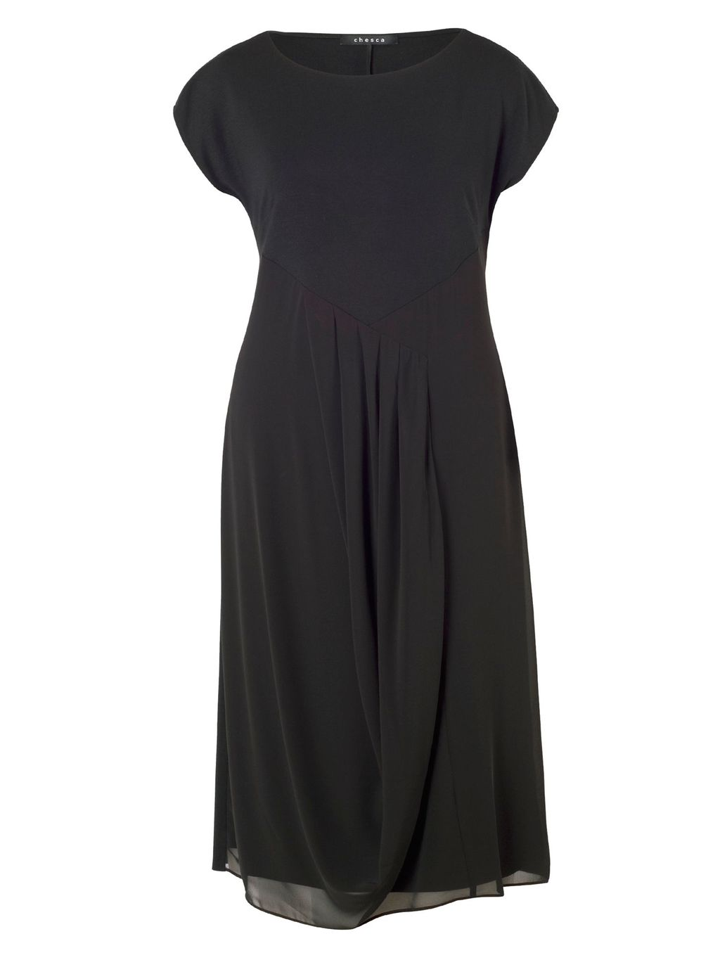 Pleat Trim Jersey/Chiffon Dress, Black - style: shift; length: below the knee; neckline: round neck; pattern: plain; predominant colour: black; occasions: evening; fit: fitted at waist & bust; fibres: viscose/rayon - stretch; sleeve length: short sleeve; sleeve style: standard; texture group: sheer fabrics/chiffon/organza etc.; pattern type: fabric; season: a/w 2015