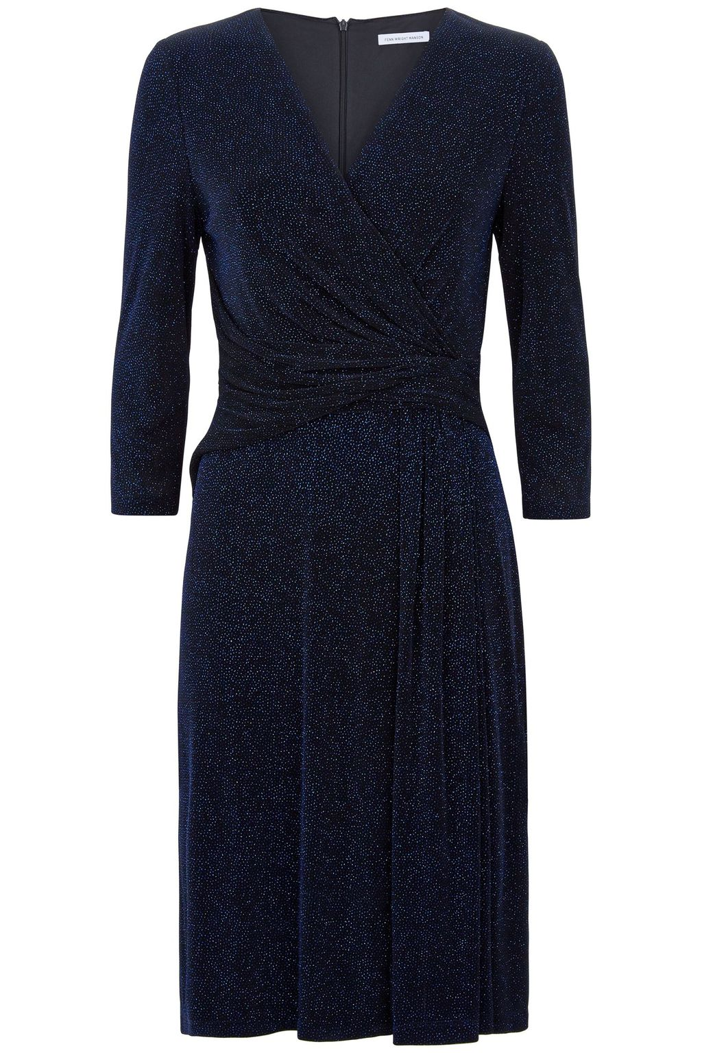 Zena Dress, Blue - style: faux wrap/wrap; neckline: v-neck; pattern: plain; predominant colour: navy; occasions: evening; length: on the knee; fit: body skimming; fibres: polyester/polyamide - stretch; sleeve length: 3/4 length; sleeve style: standard; pattern type: fabric; texture group: jersey - stretchy/drapey; season: a/w 2015; wardrobe: event