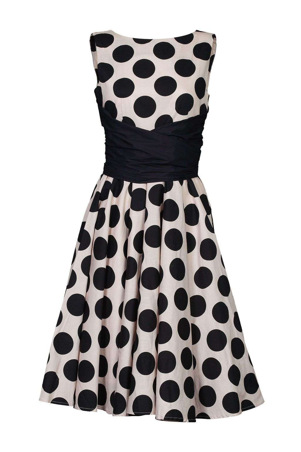 Wrapped Waist Polka Dot Dress, Black - neckline: round neck; sleeve style: sleeveless; pattern: polka dot; secondary colour: ivory/cream; predominant colour: black; length: just above the knee; fit: fitted at waist & bust; style: fit & flare; fibres: cotton - 100%; occasions: occasion; hip detail: subtle/flattering hip detail; sleeve length: sleeveless; pattern type: fabric; texture group: woven light midweight; season: a/w 2015; wardrobe: event