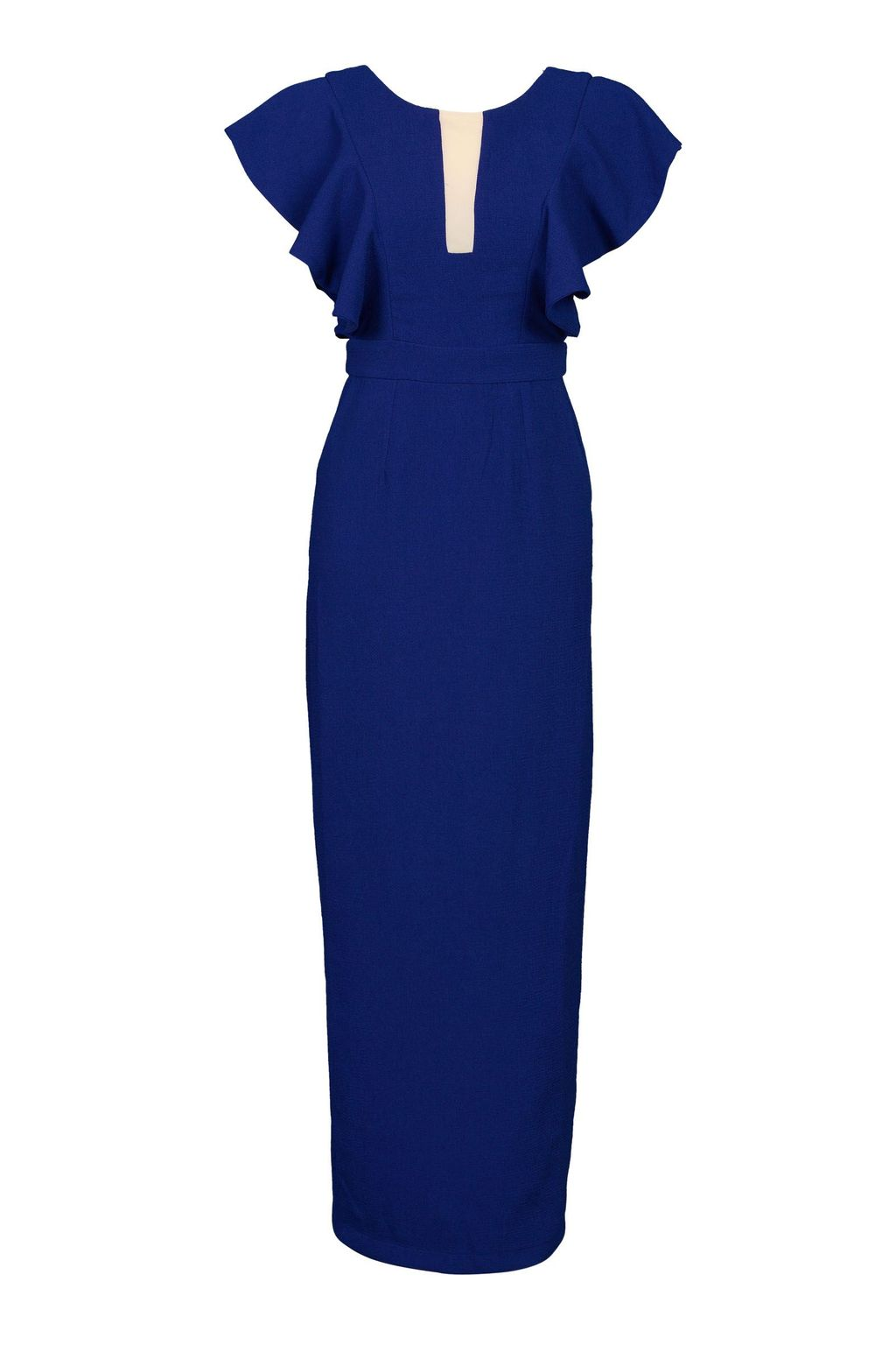 Ruffle Shoulder Crepe Dress, Royal Blue - neckline: round neck; sleeve style: angel/waterfall; pattern: plain; style: maxi dress; length: ankle length; predominant colour: royal blue; occasions: evening; fit: body skimming; fibres: polyester/polyamide - stretch; sleeve length: short sleeve; pattern type: fabric; texture group: jersey - stretchy/drapey; season: a/w 2015