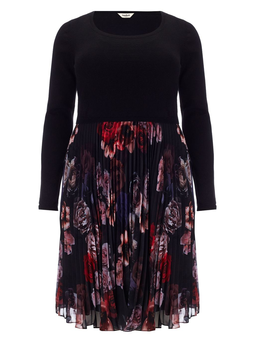 Isabel Dress, Multi Coloured - secondary colour: true red; predominant colour: black; length: just above the knee; fit: fitted at waist & bust; style: fit & flare; fibres: polyester/polyamide - 100%; occasions: occasion; neckline: crew; hip detail: adds bulk at the hips; sleeve length: long sleeve; sleeve style: standard; texture group: sheer fabrics/chiffon/organza etc.; pattern type: fabric; pattern size: standard; pattern: florals; multicoloured: multicoloured; season: a/w 2015; wardrobe: event