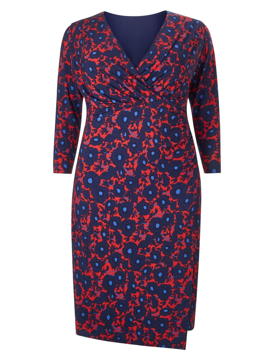 Grace Dress, Multi Coloured - style: faux wrap/wrap; neckline: v-neck; secondary colour: true red; predominant colour: navy; occasions: evening, creative work; length: just above the knee; fit: body skimming; fibres: viscose/rayon - stretch; sleeve length: 3/4 length; sleeve style: standard; pattern type: fabric; pattern: florals; texture group: jersey - stretchy/drapey; multicoloured: multicoloured; season: a/w 2015; wardrobe: highlight