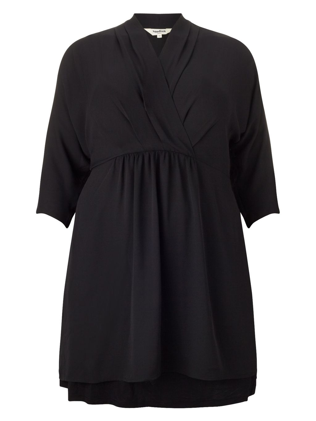 Annie Tunic Dress, Black - style: shift; length: mid thigh; neckline: v-neck; fit: empire; pattern: plain; predominant colour: black; occasions: casual, evening, creative work; fibres: polyester/polyamide - 100%; sleeve length: half sleeve; sleeve style: standard; texture group: crepes; pattern type: fabric; season: a/w 2015; wardrobe: basic