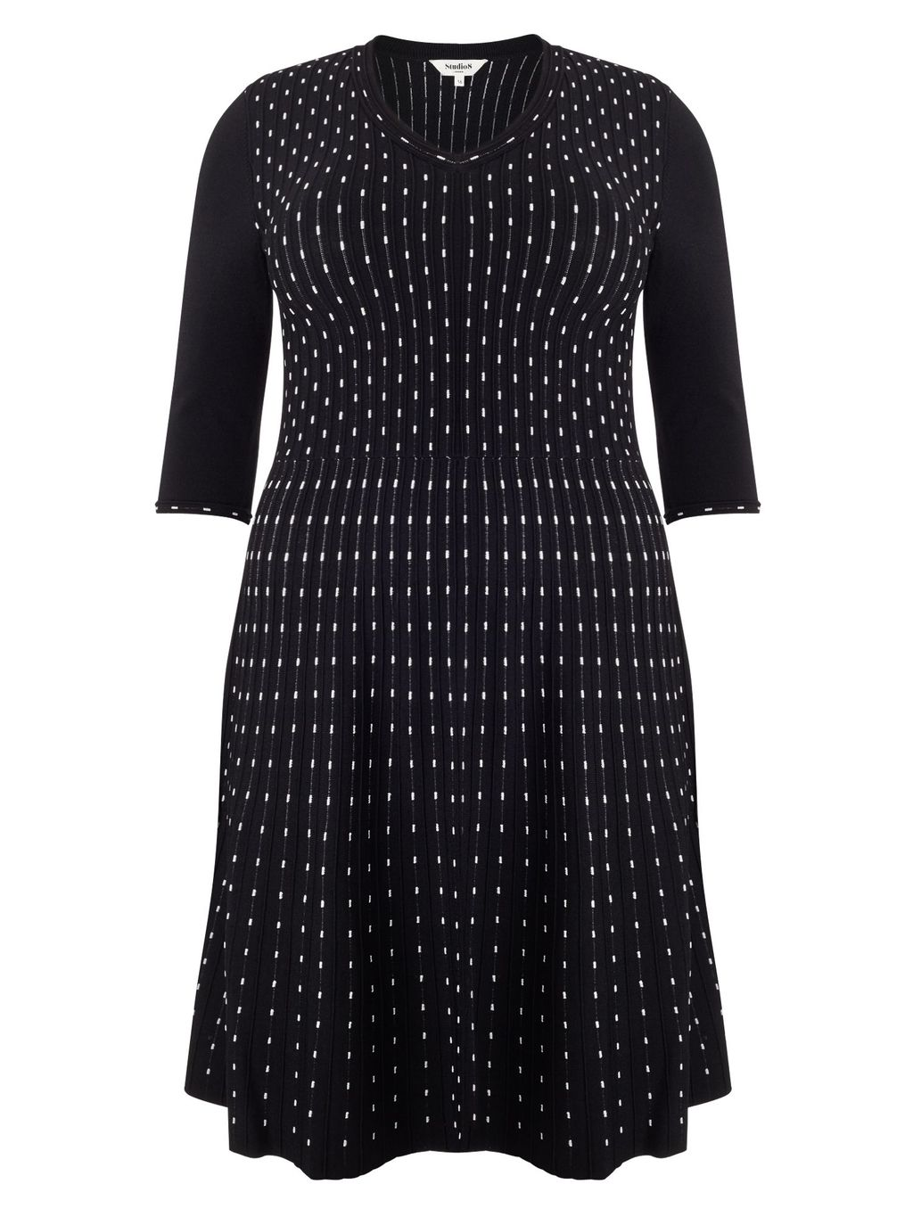 Milly Dress, Black - neckline: v-neck; pattern: polka dot; secondary colour: white; predominant colour: black; length: on the knee; fit: fitted at waist & bust; style: fit & flare; fibres: viscose/rayon - stretch; hip detail: soft pleats at hip/draping at hip/flared at hip; sleeve length: 3/4 length; sleeve style: standard; trends: monochrome; pattern type: fabric; pattern size: standard; texture group: woven light midweight; occasions: creative work; season: a/w 2015; wardrobe: highlight