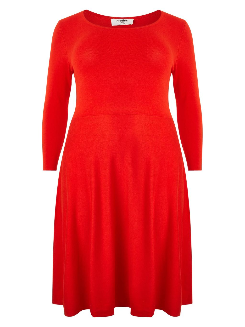 Camille Dress, Pink - style: jumper dress; neckline: round neck; pattern: plain; predominant colour: true red; occasions: casual; length: just above the knee; fit: body skimming; fibres: viscose/rayon - stretch; sleeve length: 3/4 length; sleeve style: standard; pattern type: fabric; texture group: jersey - stretchy/drapey; season: a/w 2015