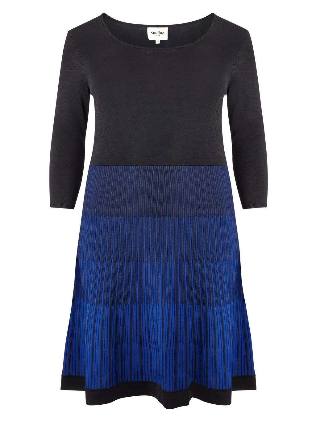 Karen Dress, Blue - length: mid thigh; neckline: round neck; secondary colour: royal blue; predominant colour: navy; occasions: casual; fit: fitted at waist & bust; style: fit & flare; hip detail: subtle/flattering hip detail; sleeve length: 3/4 length; sleeve style: standard; pattern type: fabric; pattern: colourblock; texture group: jersey - stretchy/drapey; fibres: viscose/rayon - mix; multicoloured: multicoloured; season: a/w 2015; wardrobe: highlight