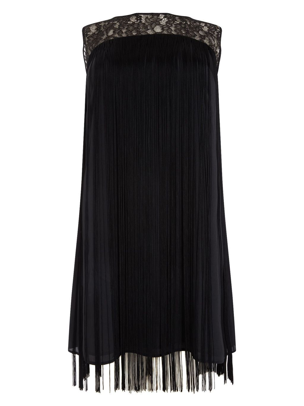 Fiamma Fringe Dress, Black - style: tunic; length: mid thigh; fit: loose; pattern: plain; sleeve style: sleeveless; bust detail: added detail/embellishment at bust; predominant colour: black; occasions: evening; fibres: polyester/polyamide - 100%; neckline: crew; sleeve length: sleeveless; pattern type: fabric; texture group: jersey - stretchy/drapey; embellishment: feathers; shoulder detail: sheer at shoulder; season: a/w 2015; wardrobe: event