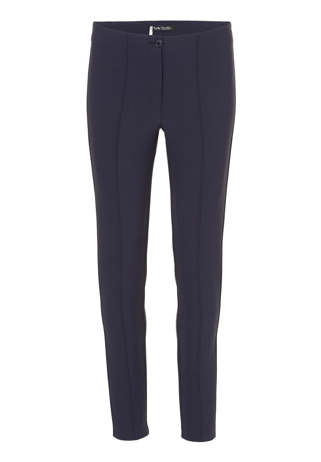 Tailored Stretch Crepe Trousers, Navy - length: standard; pattern: plain; waist: mid/regular rise; predominant colour: navy; occasions: casual, creative work; fibres: polyester/polyamide - 100%; texture group: crepes; fit: slim leg; pattern type: fabric; style: standard; season: a/w 2015; wardrobe: basic