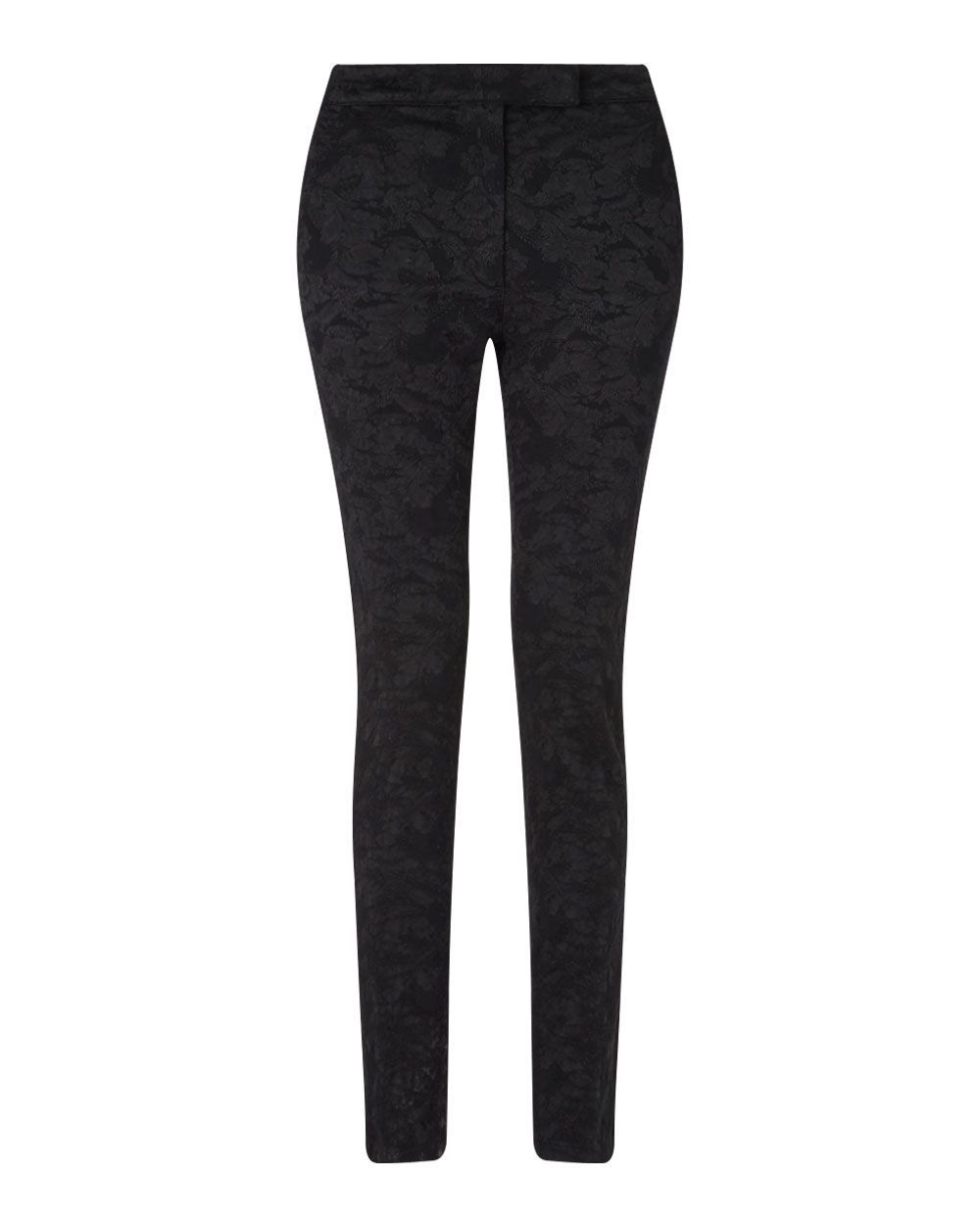 Jacquard Trouser, Black - length: standard; pattern: plain; waist: mid/regular rise; predominant colour: black; occasions: casual, creative work; fibres: cotton - mix; fit: skinny/tight leg; pattern type: fabric; texture group: brocade/jacquard; style: standard; season: a/w 2015; wardrobe: basic