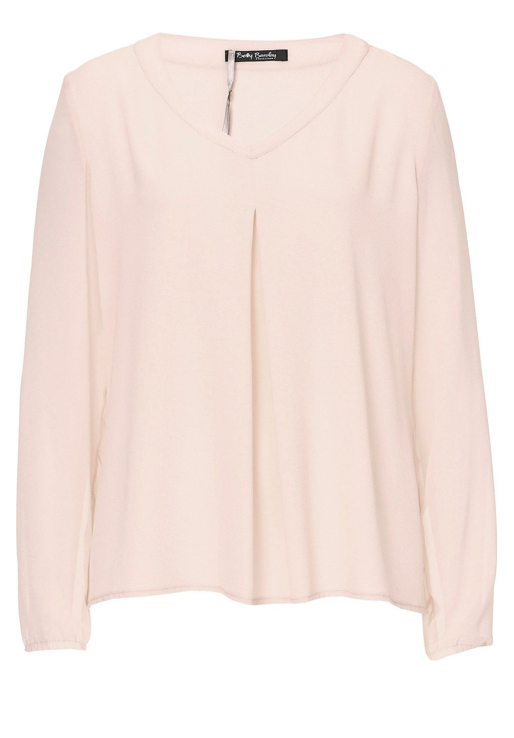 Crepe And Chiffon Top, Pink - neckline: v-neck; pattern: plain; style: blouse; predominant colour: blush; occasions: casual, creative work; length: standard; fibres: polyester/polyamide - stretch; fit: loose; sleeve length: long sleeve; sleeve style: standard; texture group: crepes; pattern type: fabric; season: a/w 2015