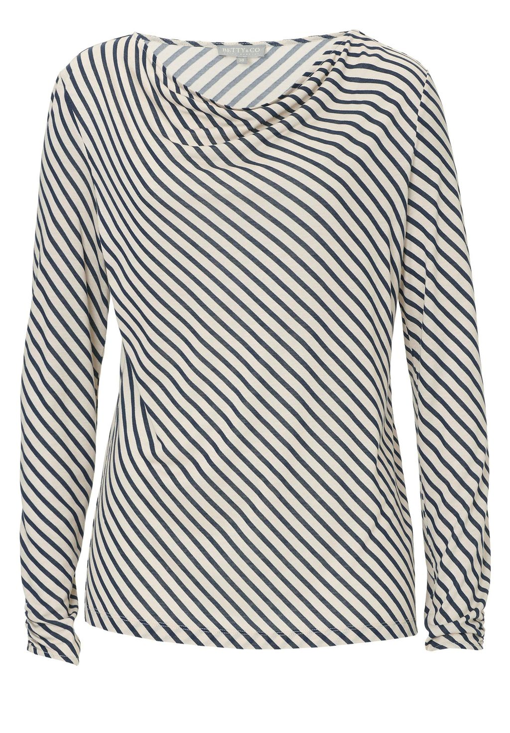Betty & Co. Striped Cowl Neck Top, Multi Coloured - neckline: cowl/draped neck; pattern: striped; secondary colour: white; predominant colour: black; occasions: casual; length: standard; style: top; fibres: viscose/rayon - 100%; fit: body skimming; sleeve length: long sleeve; sleeve style: standard; pattern type: fabric; pattern size: standard; texture group: jersey - stretchy/drapey; multicoloured: multicoloured; season: a/w 2015; wardrobe: highlight