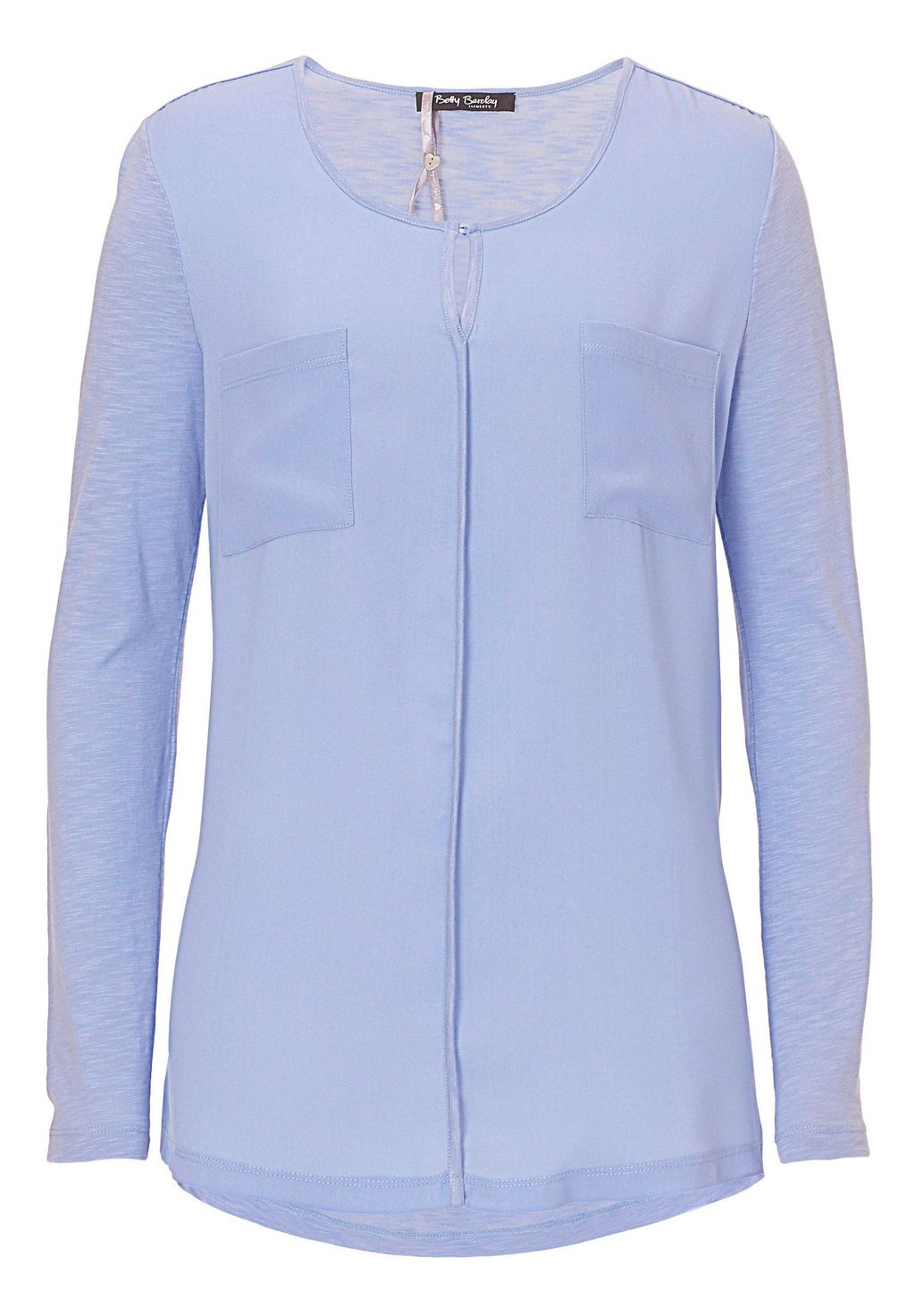 Crepe And Jersey Top, Blue - neckline: round neck; pattern: plain; predominant colour: pale blue; occasions: casual; length: standard; style: top; fibres: cotton - mix; fit: body skimming; sleeve length: long sleeve; sleeve style: standard; pattern type: fabric; texture group: jersey - stretchy/drapey; season: a/w 2015