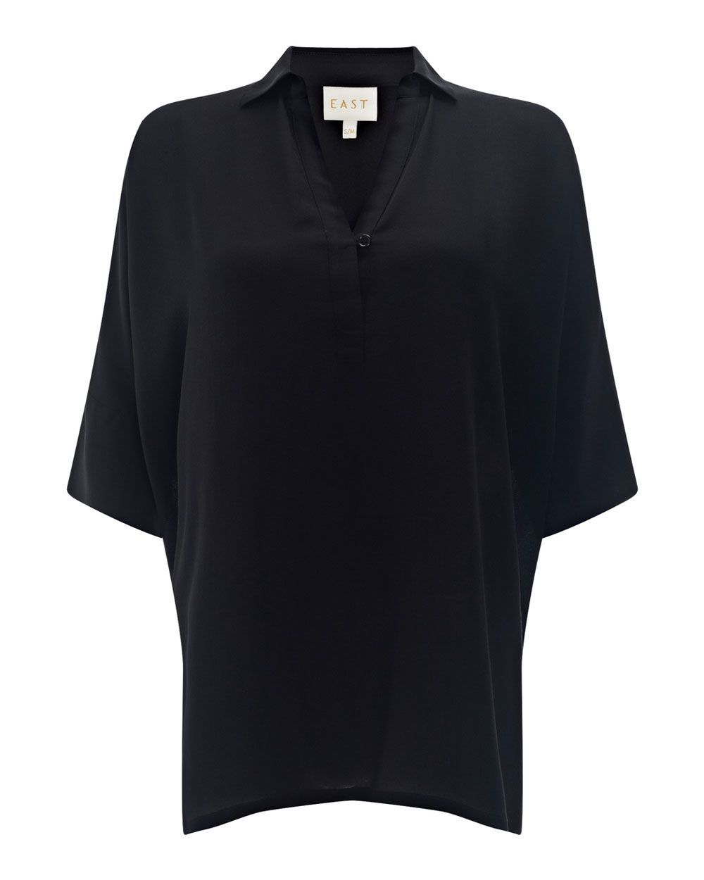Oversized Silk Shirt, Black - neckline: shirt collar/peter pan/zip with opening; pattern: plain; length: below the bottom; style: blouse; predominant colour: black; occasions: casual, creative work; fibres: silk - 100%; fit: body skimming; sleeve length: short sleeve; sleeve style: standard; texture group: crepes; pattern type: fabric; season: a/w 2015
