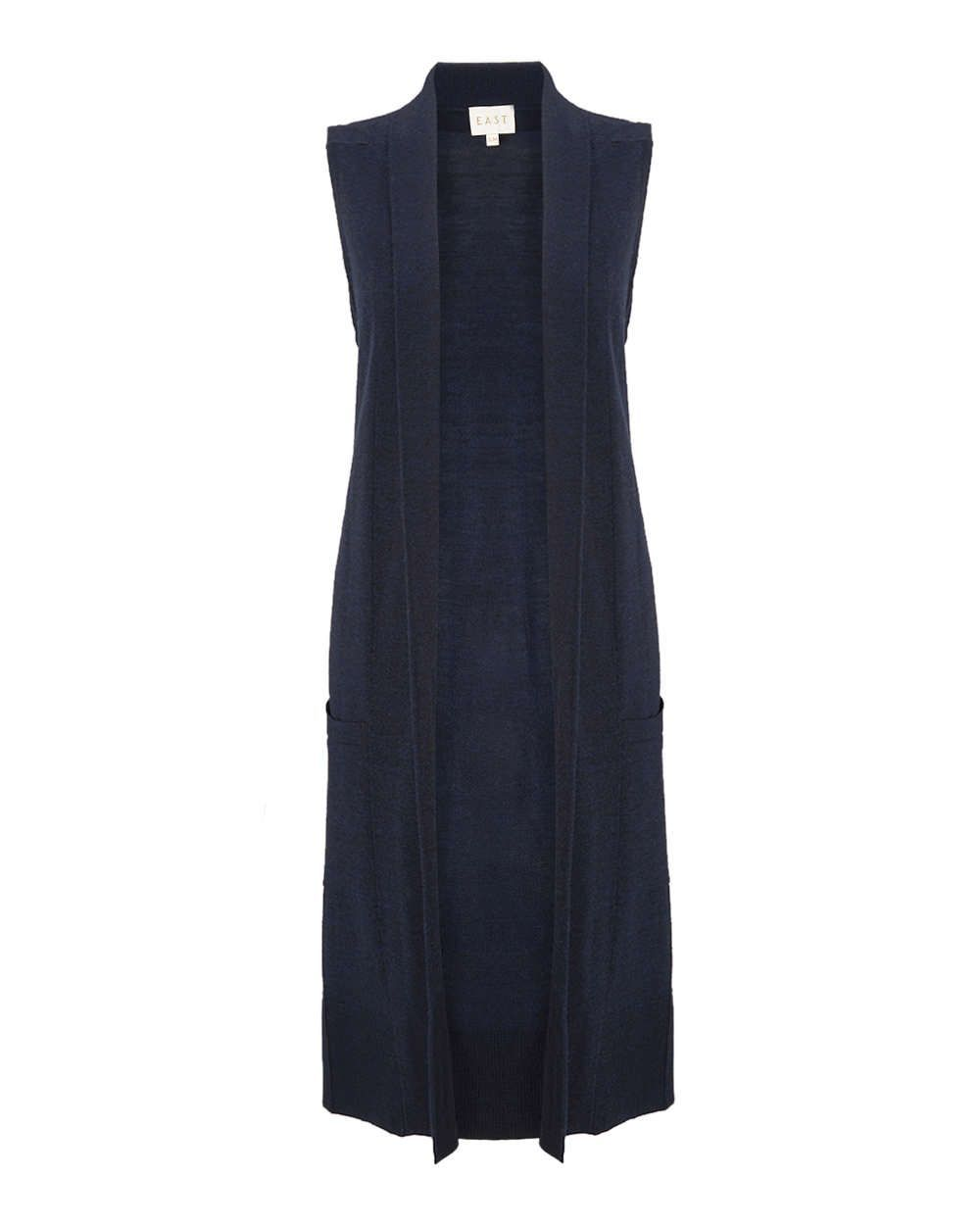 Merino Longline Waistcoat, Ink - pattern: plain; sleeve style: sleeveless; style: gilet; hip detail: front pockets at hip; neckline: collarless open; predominant colour: navy; occasions: casual, creative work; fibres: wool - mix; fit: loose; length: mid thigh; sleeve length: sleeveless; texture group: knits/crochet; pattern type: knitted - fine stitch; season: a/w 2015