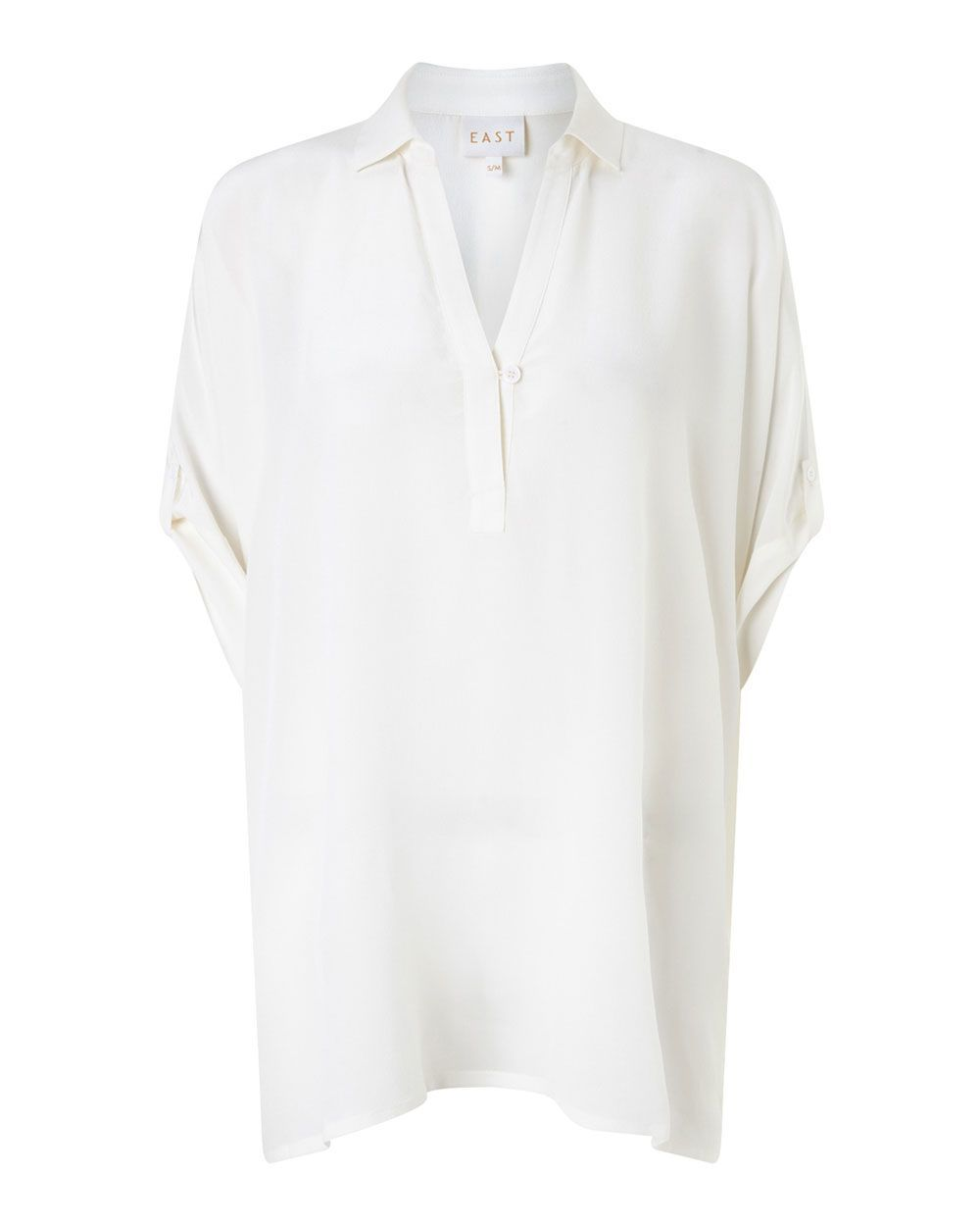 Oversized Silk Shirt, Pearl - neckline: shirt collar/peter pan/zip with opening; sleeve style: dolman/batwing; pattern: plain; length: below the bottom; style: shirt; predominant colour: ivory/cream; occasions: casual; fibres: silk - 100%; fit: loose; sleeve length: short sleeve; texture group: silky - light; pattern type: fabric; season: a/w 2015; wardrobe: basic