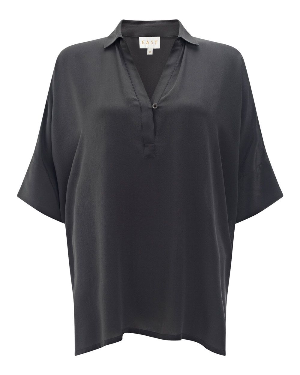 Oversized Silk Shirt, Grey - neckline: shirt collar/peter pan/zip with opening; sleeve style: dolman/batwing; pattern: plain; length: below the bottom; style: shirt; predominant colour: charcoal; occasions: casual, creative work; fibres: silk - 100%; fit: loose; sleeve length: half sleeve; texture group: silky - light; pattern type: fabric; season: a/w 2015; wardrobe: basic