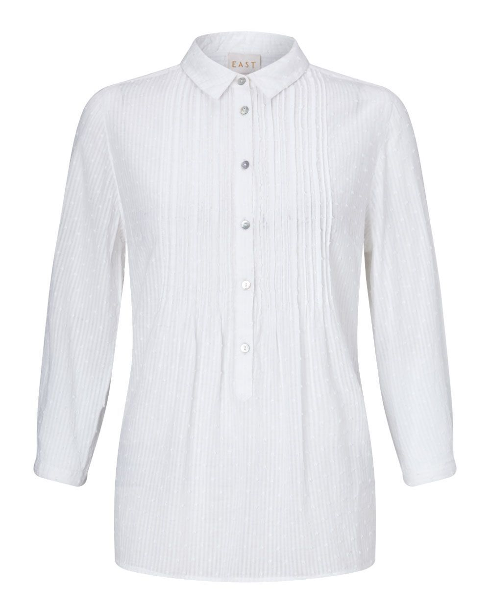 Pintuck Dobby Shirt, Winter White - neckline: shirt collar/peter pan/zip with opening; pattern: plain; style: shirt; bust detail: ruching/gathering/draping/layers/pintuck pleats at bust; predominant colour: white; occasions: casual; length: standard; fibres: cotton - 100%; fit: body skimming; sleeve length: 3/4 length; sleeve style: standard; texture group: cotton feel fabrics; pattern type: fabric; season: a/w 2015; wardrobe: basic