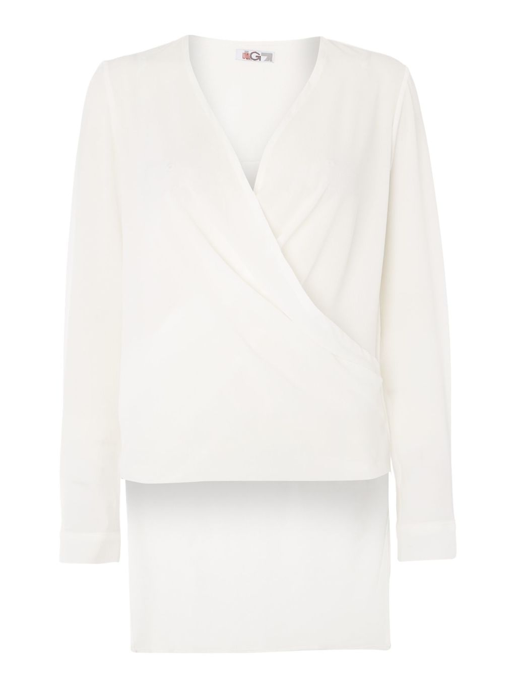 Long Sleeved V Neck Wrap Top, White - neckline: v-neck; pattern: plain; style: wrap/faux wrap; predominant colour: white; occasions: casual; length: standard; fibres: polyester/polyamide - stretch; fit: body skimming; sleeve length: long sleeve; sleeve style: standard; pattern type: fabric; texture group: jersey - stretchy/drapey; season: a/w 2015