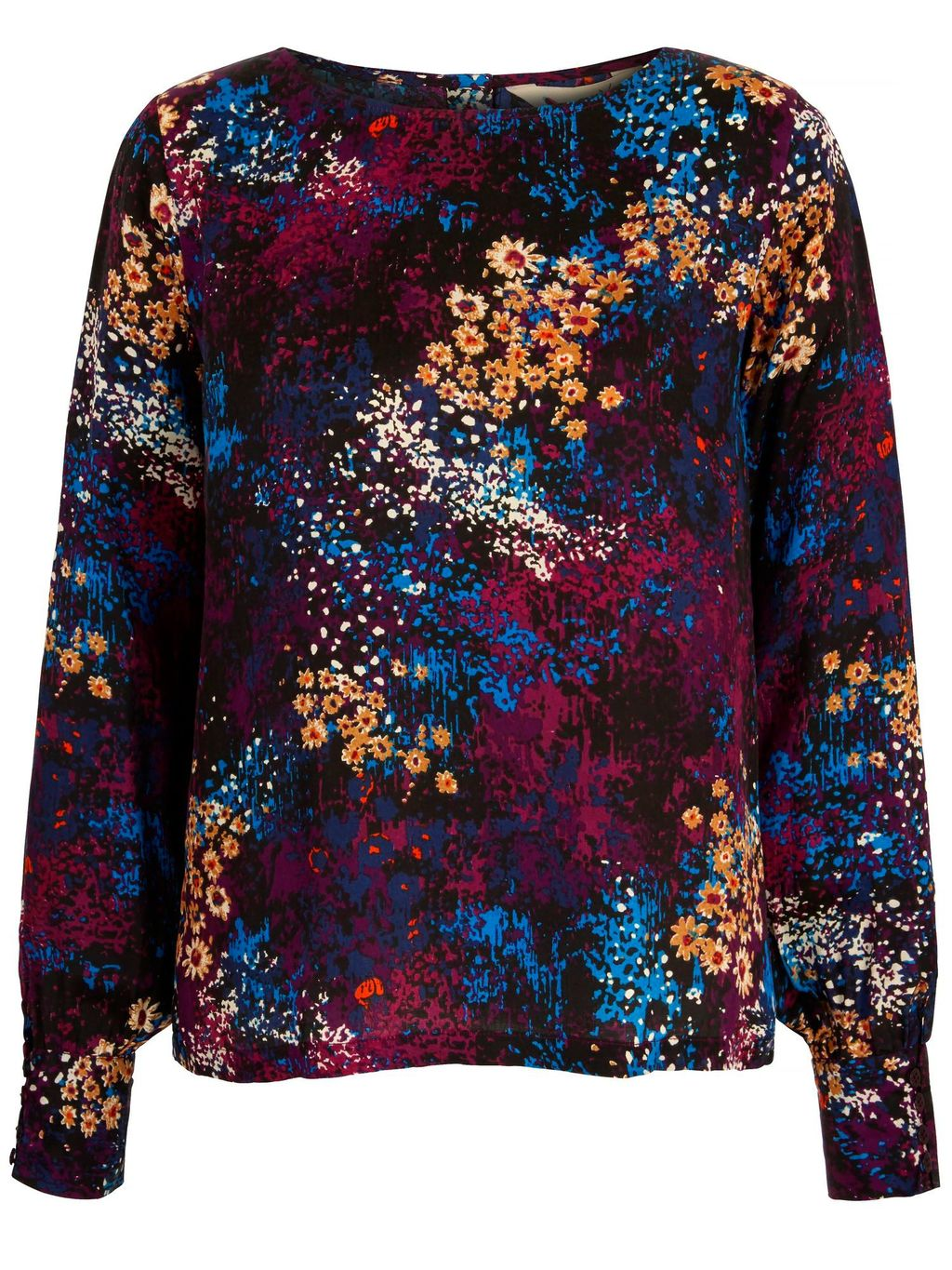 Distressed Floral Print Top, Black - neckline: round neck; secondary colour: purple; predominant colour: bright orange; occasions: casual, creative work; length: standard; style: top; fibres: viscose/rayon - 100%; fit: body skimming; sleeve length: long sleeve; sleeve style: standard; pattern type: fabric; pattern: florals; texture group: jersey - stretchy/drapey; pattern size: big & busy (top); multicoloured: multicoloured; season: a/w 2015; wardrobe: highlight