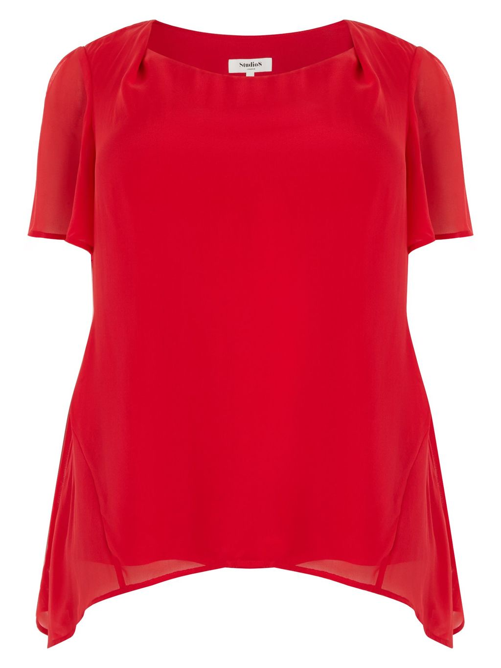 Charlie Tunic, Red - neckline: round neck; pattern: plain; length: below the bottom; predominant colour: true red; occasions: evening; style: top; fibres: silk - 100%; fit: loose; sleeve length: short sleeve; sleeve style: standard; texture group: silky - light; pattern type: fabric; pattern size: standard; season: a/w 2015; wardrobe: event