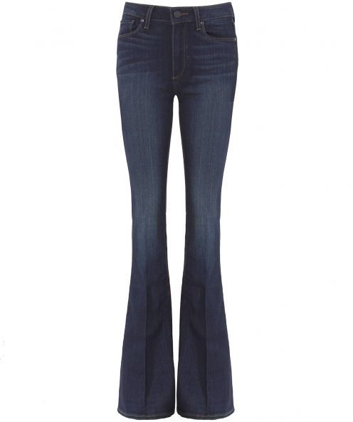 High Rise Bell Canyon Jeans - style: bootcut; length: standard; pattern: plain; pocket detail: traditional 5 pocket; waist: mid/regular rise; predominant colour: navy; occasions: casual; fibres: cotton - stretch; jeans detail: shading down centre of thigh; texture group: denim; pattern type: fabric; season: a/w 2015; wardrobe: basic