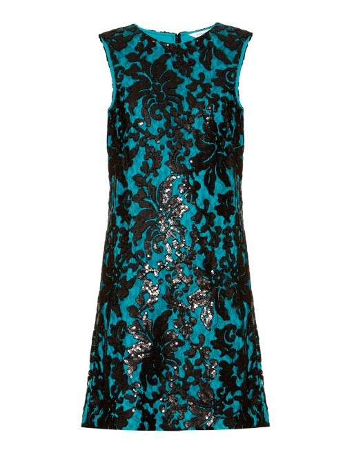 Kaleb Dress - style: shift; length: mid thigh; sleeve style: sleeveless; secondary colour: turquoise; predominant colour: black; occasions: evening, occasion; fit: straight cut; fibres: polyester/polyamide - mix; neckline: crew; sleeve length: sleeveless; pattern type: fabric; pattern size: big & busy; pattern: patterned/print; texture group: other - light to midweight; embellishment: sequins; season: a/w 2015; wardrobe: event