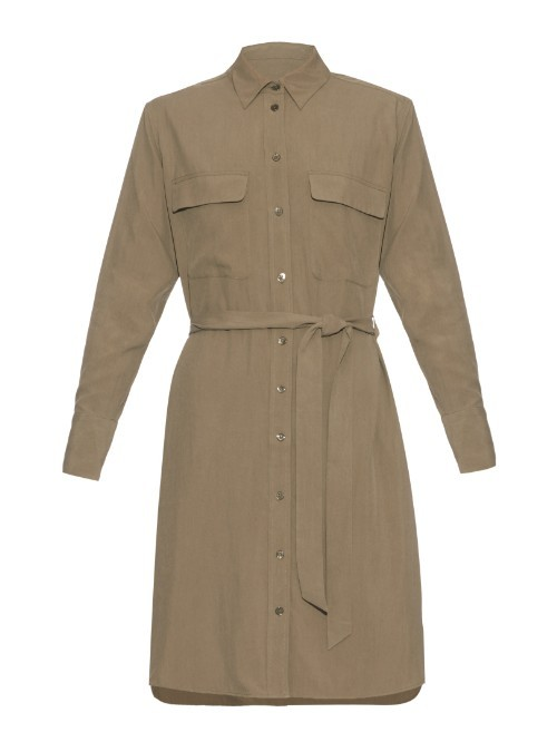 Long Sleeved Silk Dress - style: shirt; neckline: shirt collar/peter pan/zip with opening; pattern: plain; waist detail: belted waist/tie at waist/drawstring; predominant colour: khaki; occasions: casual, creative work; length: just above the knee; fit: body skimming; sleeve length: long sleeve; sleeve style: standard; bust detail: bulky details at bust; pattern type: fabric; texture group: other - light to midweight; season: a/w 2015; wardrobe: basic