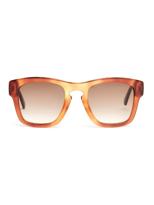 Square Frame Sunglasses - predominant colour: tan; style: square; size: standard; material: plastic/rubber; pattern: tortoiseshell; occasions: holiday; finish: plain; season: a/w 2015; wardrobe: highlight