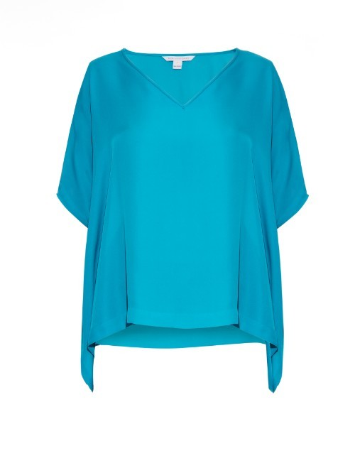 Adria Blouse - neckline: v-neck; sleeve style: dolman/batwing; pattern: plain; length: below the bottom; style: blouse; predominant colour: diva blue; occasions: casual, creative work; fibres: silk - 100%; fit: loose; sleeve length: 3/4 length; texture group: silky - light; pattern type: fabric; season: a/w 2015