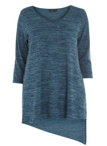 Womens **Amy.K Curve Blue V Neck Jersey Top Blue - neckline: low v-neck; sleeve style: dolman/batwing; length: below the bottom; style: t-shirt; secondary colour: turquoise; predominant colour: teal; occasions: casual; fibres: cotton - stretch; fit: loose; sleeve length: 3/4 length; pattern type: fabric; pattern size: standard; texture group: jersey - stretchy/drapey; pattern: marl; season: a/w 2015