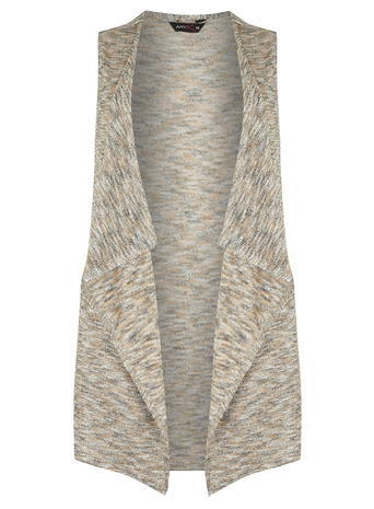 Womens **Amy.K Curve Beige Glitter Waistcoat Cream - sleeve style: sleeveless; collar: shawl/waterfall; predominant colour: stone; secondary colour: stone; occasions: casual, creative work; fit: straight cut (boxy); fibres: polyester/polyamide - mix; style: waistcoat; length: mid thigh; sleeve length: sleeveless; collar break: low/open; pattern type: fabric; pattern size: light/subtle; pattern: patterned/print; texture group: jersey - stretchy/drapey; season: a/w 2015