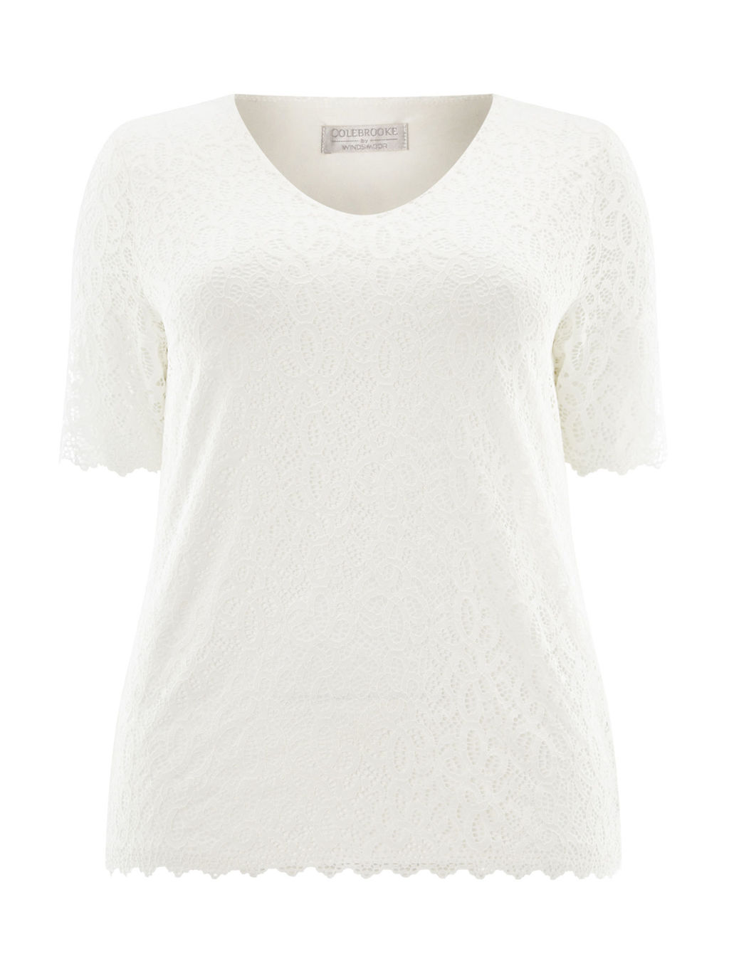 Ivory Lace Jersey Top - neckline: v-neck; predominant colour: ivory/cream; occasions: casual, creative work; length: standard; style: top; fibres: polyester/polyamide - stretch; fit: body skimming; sleeve length: short sleeve; sleeve style: standard; pattern type: fabric; pattern size: light/subtle; pattern: patterned/print; texture group: jersey - stretchy/drapey; season: a/w 2015; wardrobe: highlight
