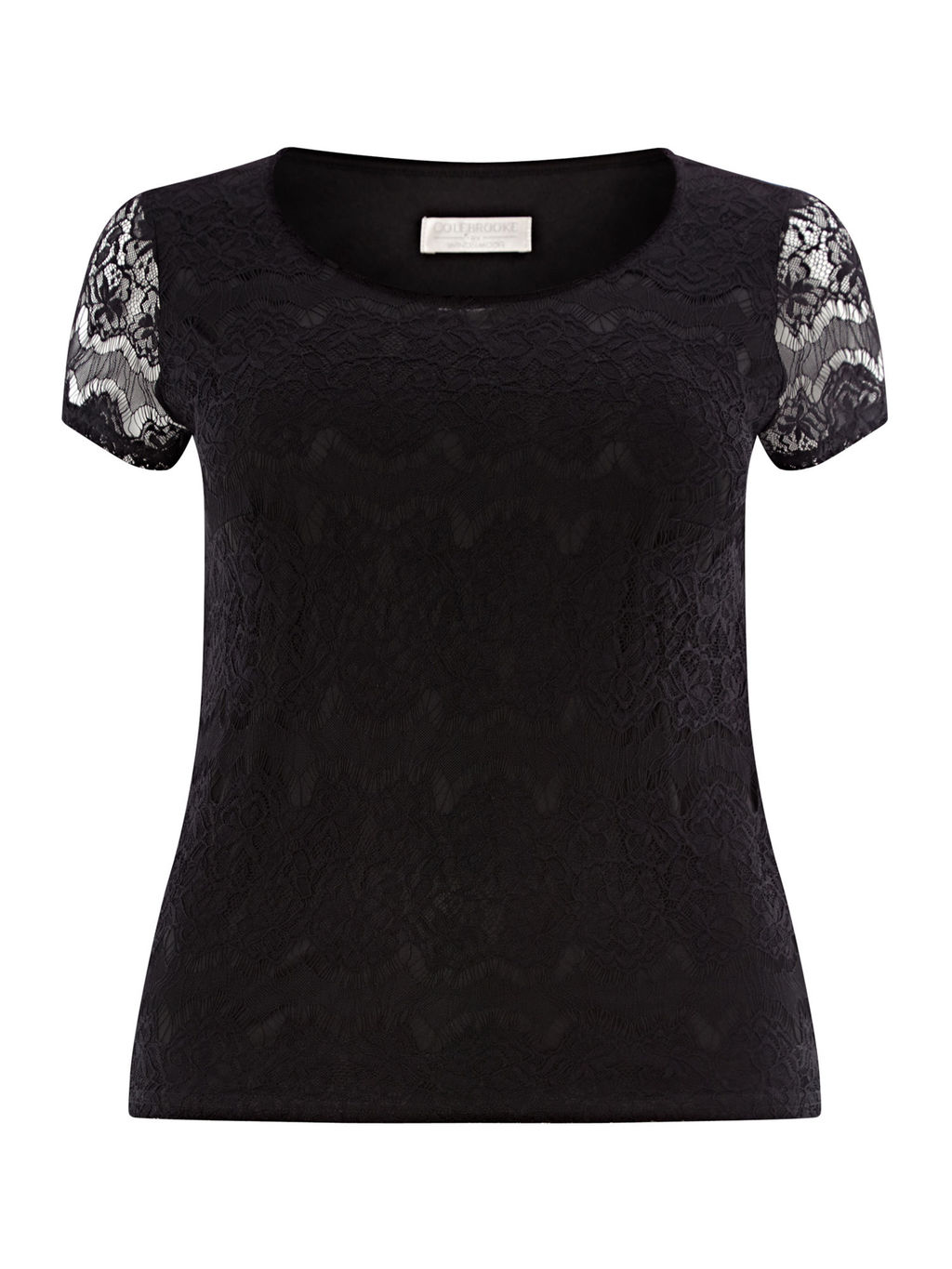 Black Lace Top - neckline: round neck; style: t-shirt; predominant colour: black; occasions: casual, evening; length: standard; fibres: polyester/polyamide - stretch; fit: body skimming; sleeve length: short sleeve; sleeve style: standard; texture group: lace; pattern type: fabric; pattern size: standard; pattern: patterned/print; embellishment: lace; season: a/w 2015; wardrobe: highlight