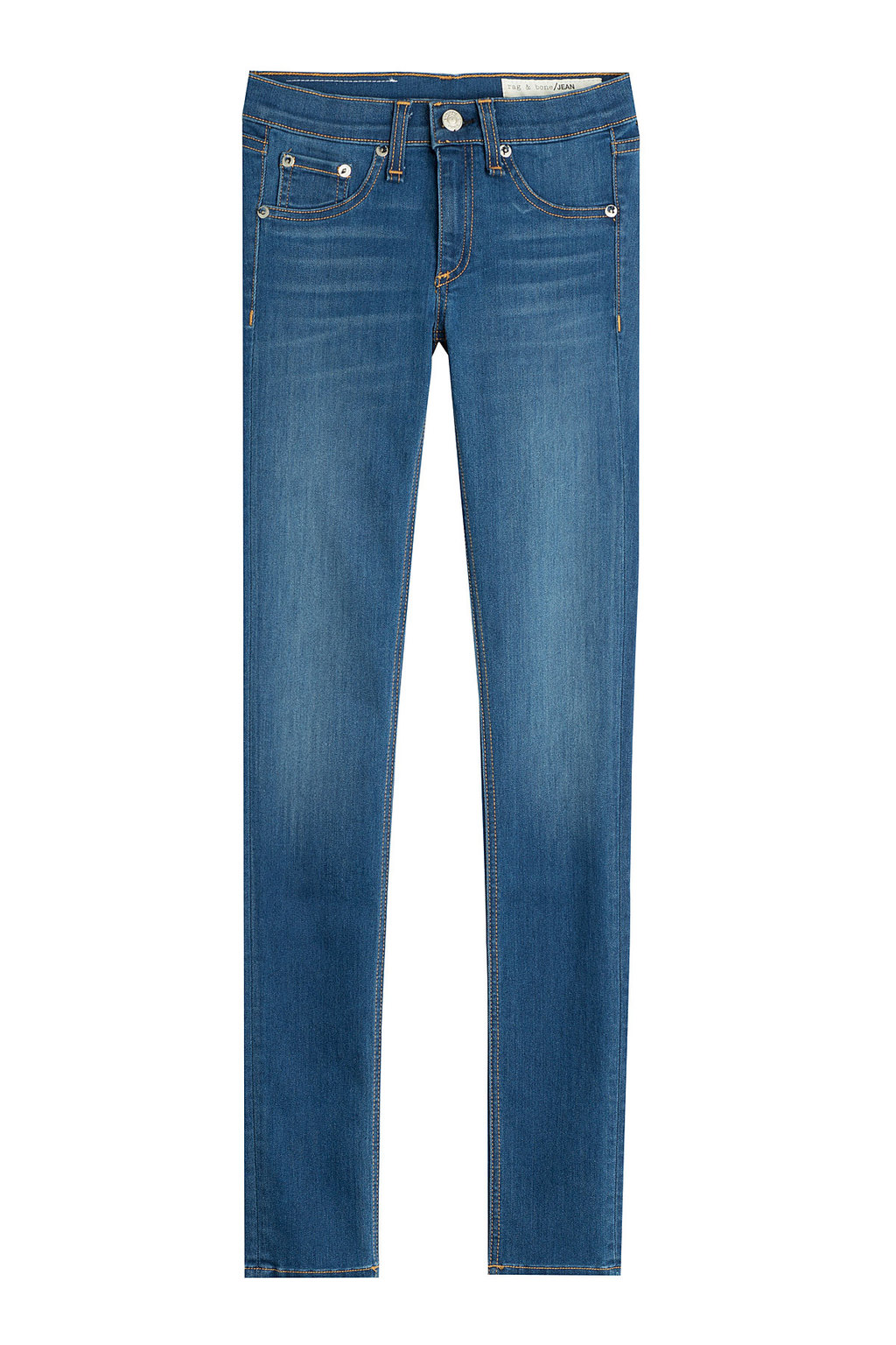 Skinny Jeans - style: skinny leg; length: standard; pattern: plain; waist: low rise; pocket detail: traditional 5 pocket; predominant colour: denim; occasions: casual; fibres: cotton - stretch; jeans detail: shading down centre of thigh; texture group: denim; pattern type: fabric; season: a/w 2015; wardrobe: basic