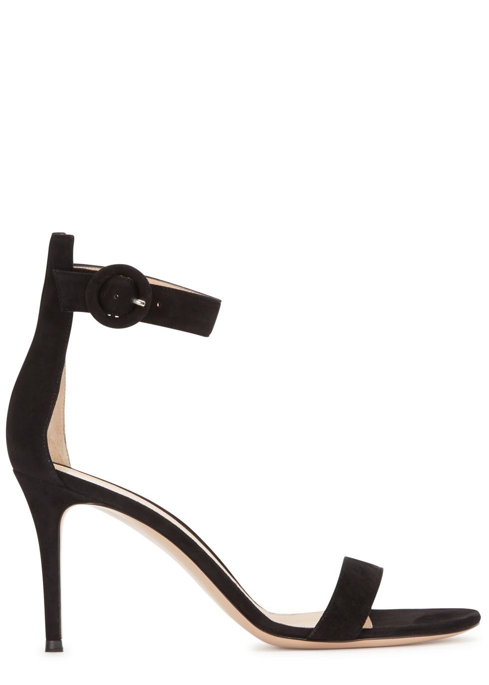 Portofino Black Suede Sandals - predominant colour: black; occasions: evening, occasion; material: suede; ankle detail: ankle strap; heel: stiletto; toe: open toe/peeptoe; style: strappy; finish: plain; pattern: plain; heel height: very high; season: a/w 2015; wardrobe: event