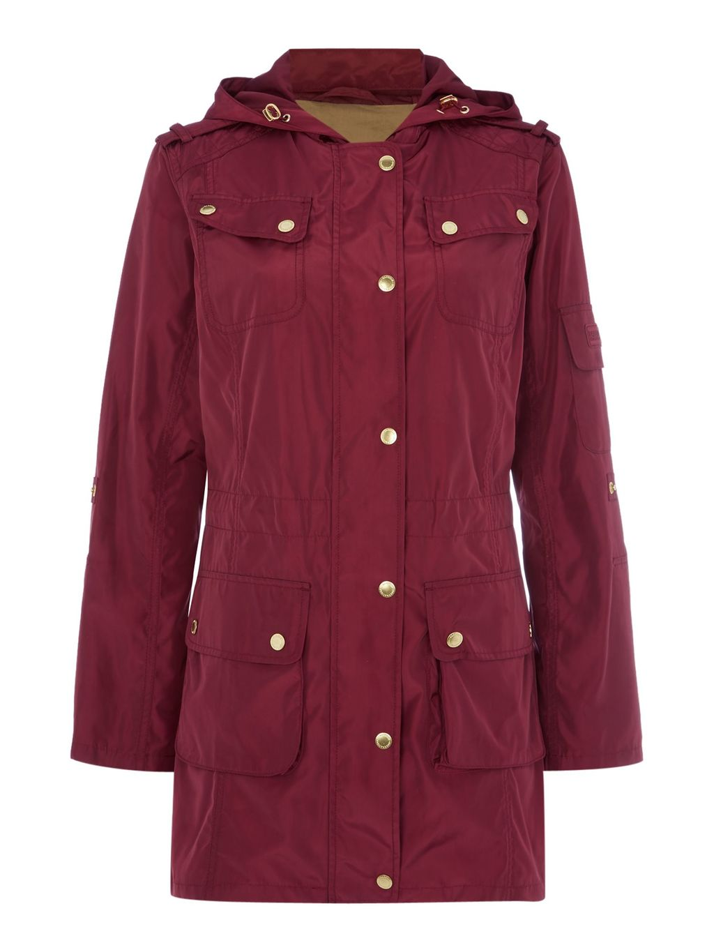 International Delter Casual Parka Jacket, Red - pattern: plain; length: below the bottom; collar: funnel; style: parka; back detail: hood; predominant colour: burgundy; occasions: casual; fit: straight cut (boxy); fibres: cotton - 100%; sleeve length: long sleeve; sleeve style: standard; texture group: cotton feel fabrics; collar break: high; pattern type: fabric; season: a/w 2015; wardrobe: highlight; embellishment location: bust, hip