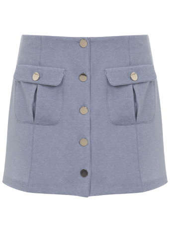 Womens Button Mini Skirt, Pale Blue - length: mini; pattern: plain; fit: body skimming; hip detail: front pockets at hip; waist: mid/regular rise; predominant colour: pale blue; occasions: casual; style: mini skirt; fibres: polyester/polyamide - 100%; pattern type: fabric; texture group: other - light to midweight; season: a/w 2015; wardrobe: highlight