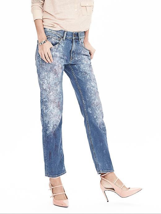 Heritage Painted Boyfriend Jean Paint Splash - style: boyfriend; length: standard; pattern: plain; pocket detail: traditional 5 pocket; waist: mid/regular rise; predominant colour: denim; occasions: casual; fibres: cotton - stretch; jeans detail: washed/faded; texture group: denim; pattern type: fabric; season: a/w 2015; wardrobe: basic