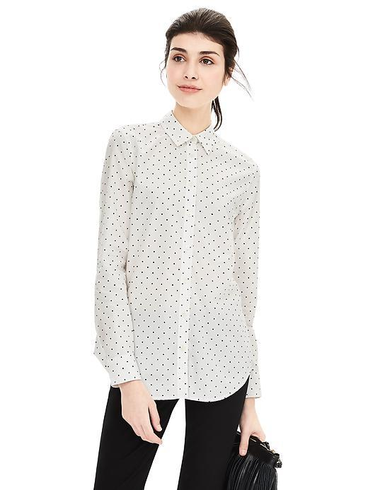 Classic Fit Pindot Shirt Black Dot - neckline: shirt collar/peter pan/zip with opening; length: below the bottom; style: shirt; pattern: polka dot; predominant colour: white; secondary colour: black; occasions: casual, creative work; fibres: cotton - 100%; fit: body skimming; sleeve length: long sleeve; sleeve style: standard; texture group: cotton feel fabrics; pattern type: fabric; pattern size: light/subtle; season: a/w 2015