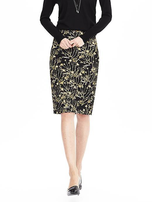 Floral Pencil Skirt Greenhouse Floral - style: pencil; fit: tailored/fitted; waist: mid/regular rise; predominant colour: stone; secondary colour: black; occasions: work, occasion; length: on the knee; fibres: viscose/rayon - stretch; pattern type: fabric; pattern: florals; texture group: woven light midweight; pattern size: standard (bottom); season: a/w 2015; wardrobe: highlight