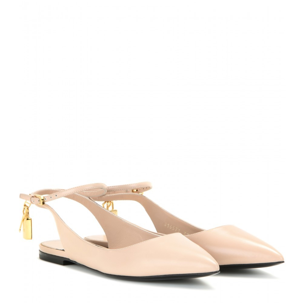 Embellished Leather Ballerinas - predominant colour: nude; occasions: casual, creative work; material: leather; heel height: flat; toe: pointed toe; style: ballerinas / pumps; finish: plain; pattern: plain; season: a/w 2015; wardrobe: basic