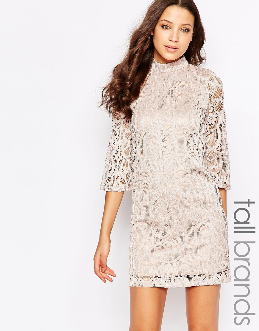 Tall Half Sleeve All Over Lace Dress Champange - style: shift; length: mini; neckline: high neck; predominant colour: ivory/cream; occasions: evening; fit: body skimming; fibres: polyester/polyamide - 100%; sleeve length: 3/4 length; sleeve style: standard; texture group: lace; pattern type: fabric; pattern size: standard; pattern: patterned/print; season: a/w 2015; wardrobe: event