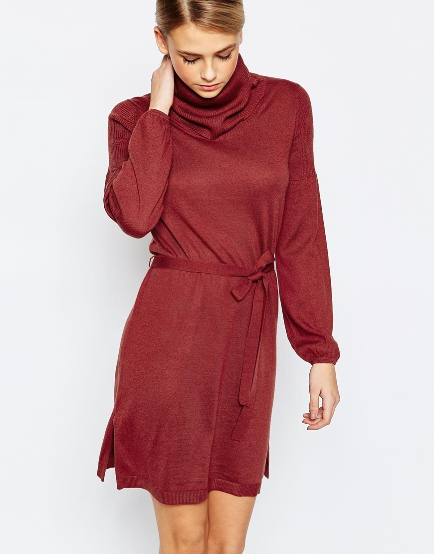 70s Cowl Tunic Dress Rust - style: tunic; length: mid thigh; fit: loose; pattern: plain; neckline: wide roll/funnel neck; waist detail: belted waist/tie at waist/drawstring; predominant colour: true red; occasions: casual, creative work; fibres: polyester/polyamide - mix; sleeve length: long sleeve; sleeve style: standard; texture group: knits/crochet; pattern type: knitted - fine stitch; season: a/w 2015; wardrobe: highlight