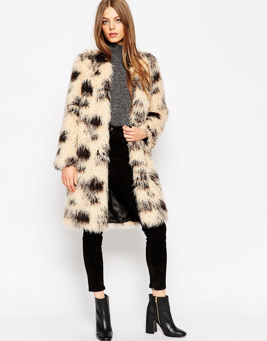 Coat In Shaggy Faux Fur Multi - style: single breasted; length: mid thigh; predominant colour: stone; secondary colour: black; occasions: evening; fit: straight cut (boxy); fibres: acrylic - mix; sleeve length: long sleeve; sleeve style: standard; texture group: fur; collar: fur; collar break: low/open; pattern type: fabric; pattern size: light/subtle; pattern: patterned/print; season: a/w 2015; wardrobe: event