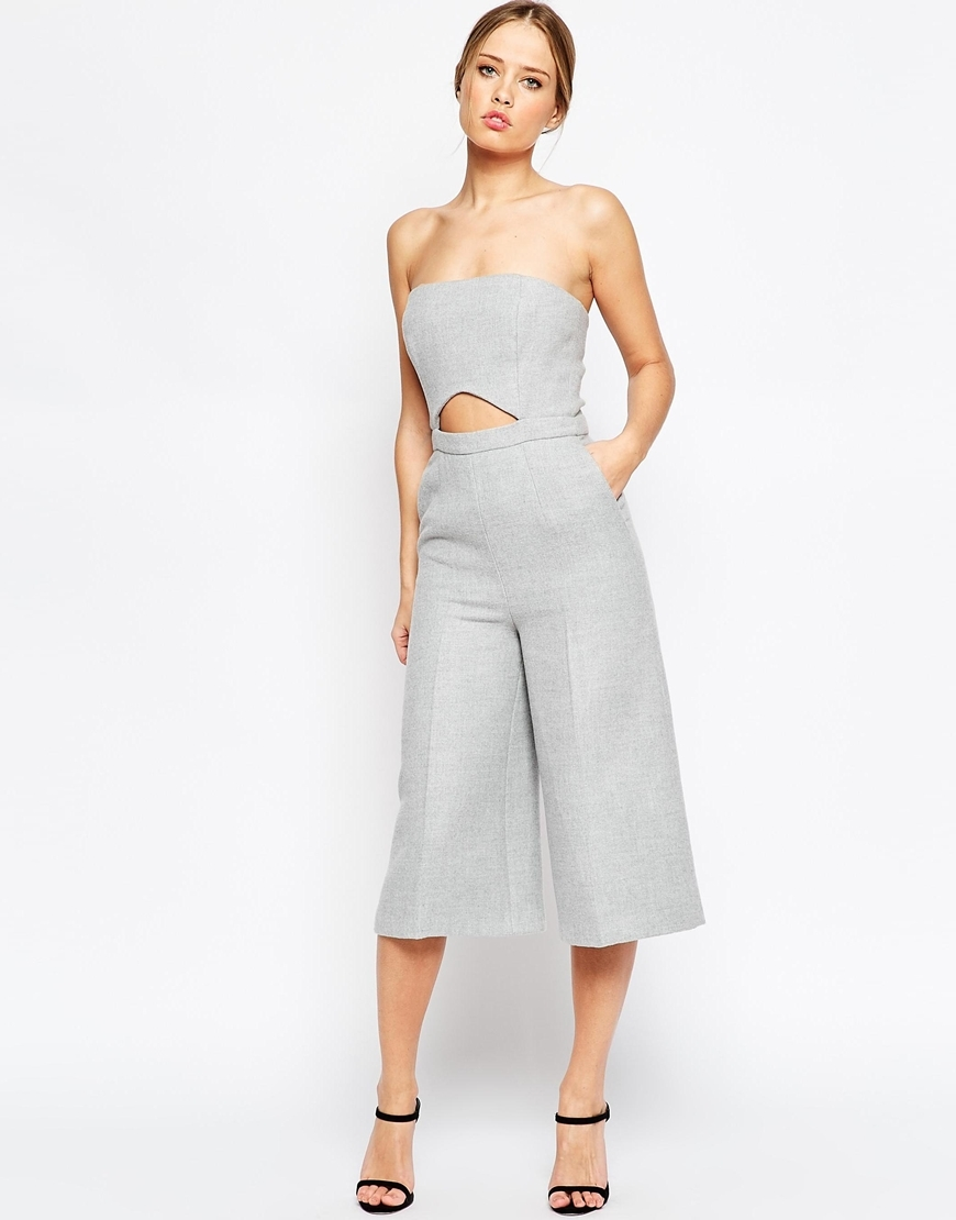 Premium Jumpsuit In Texture With Cut Out Detail Grey - neckline: strapless (straight/sweetheart); pattern: plain; sleeve style: strapless; length: below the knee; predominant colour: light grey; occasions: evening; fit: fitted at waist & bust; fibres: polyester/polyamide - 100%; hip detail: front pleats at hip level; waist detail: cut out detail; sleeve length: sleeveless; style: jumpsuit; pattern type: fabric; texture group: woven light midweight; season: a/w 2015