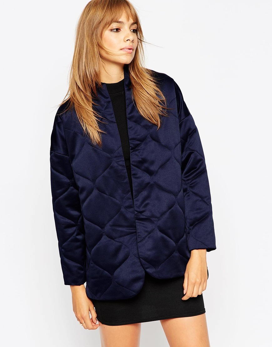 Premium Quilted Satin Jacket Navy - collar: standard biker; length: below the bottom; style: bomber; predominant colour: navy; occasions: casual, creative work; fit: straight cut (boxy); fibres: polyester/polyamide - 100%; sleeve length: long sleeve; sleeve style: standard; texture group: structured shiny - satin/tafetta/silk etc.; collar break: high/illusion of break when open; pattern type: fabric; pattern size: light/subtle; pattern: patterned/print; embellishment: quilted; season: a/w 2015; wardrobe: highlight