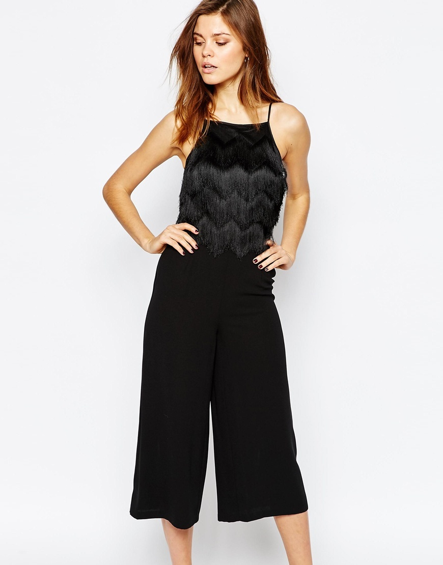 Fringe Jumpsuit Black - sleeve style: spaghetti straps; pattern: plain; predominant colour: black; occasions: evening; length: calf length; fit: fitted at waist & bust; fibres: polyester/polyamide - 100%; sleeve length: sleeveless; texture group: crepes; style: jumpsuit; neckline: medium square neck; pattern type: fabric; embellishment: fringing; season: a/w 2015; wardrobe: event; embellishment location: bust