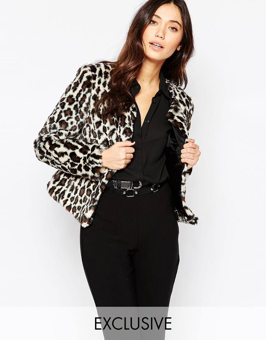 Leopard Chubby Faux Fur Coat Animal - length: standard; collar: round collar/collarless; style: single breasted; predominant colour: white; secondary colour: black; occasions: casual, creative work; fit: tailored/fitted; fibres: acrylic - mix; sleeve length: long sleeve; sleeve style: standard; collar break: low/open; pattern size: light/subtle; pattern: animal print; texture group: woven light midweight; season: a/w 2015; wardrobe: highlight