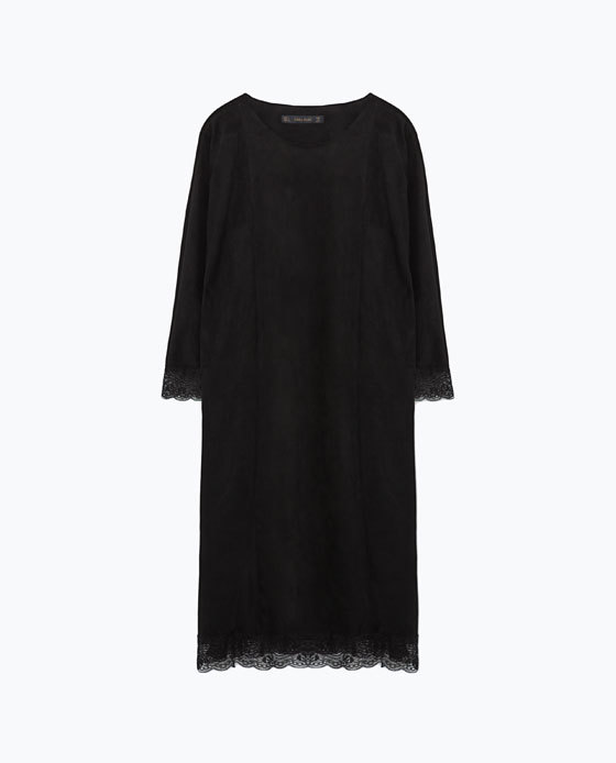 Combined Lace Dress - style: shift; length: below the knee; neckline: round neck; predominant colour: black; occasions: evening, creative work; fit: straight cut; fibres: polyester/polyamide - 100%; sleeve length: 3/4 length; sleeve style: standard; texture group: lace; pattern type: fabric; pattern size: standard; pattern: patterned/print; season: a/w 2015; trends: romantic goth; wardrobe: highlight